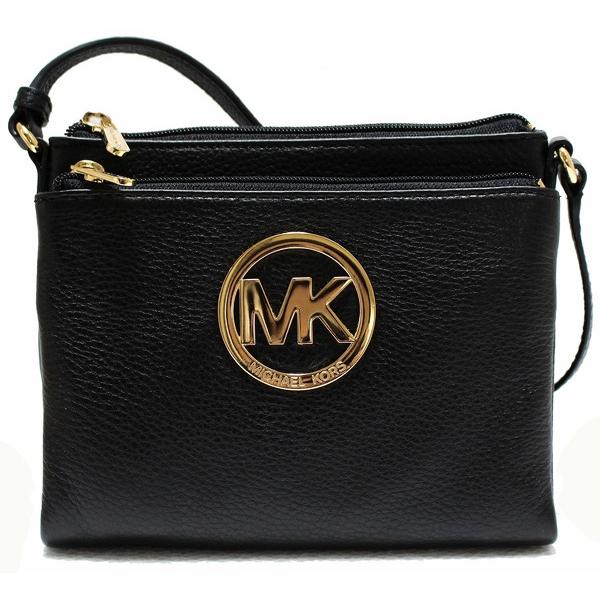 f666b88b36e14 Fulton Large Leather Crossbody Bag Black   35S2GFTC3L. Michael Kors