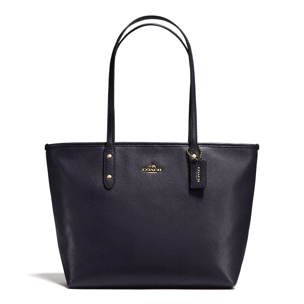 City Zip Tote In Pebble Leather Navy