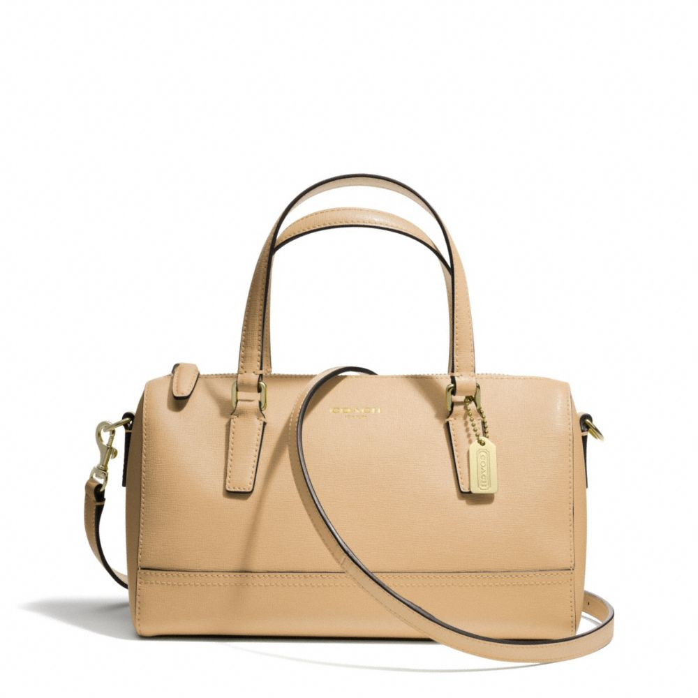 Coach Saffiano Mini Satchel In Leather Camel