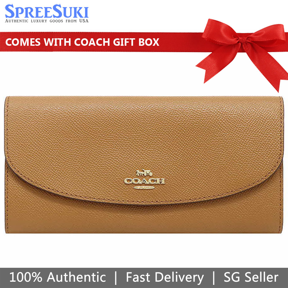 Coach Wallet In Gift Box Light Saddle Brown # F54009