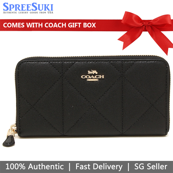 Coach Accordion Zip Wallet With Quilting Black # 91575