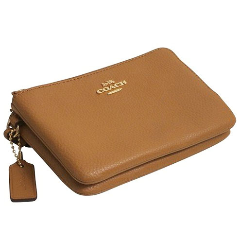 Coach Double Corner Zip Wallet In Polished Pebble Leather Light Saddle Brown # F87590