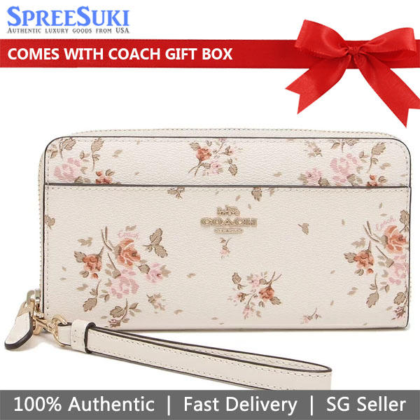 Coach Accordion Zip Wallet With Rose Bouquet Print Chalk Off White # 89966
