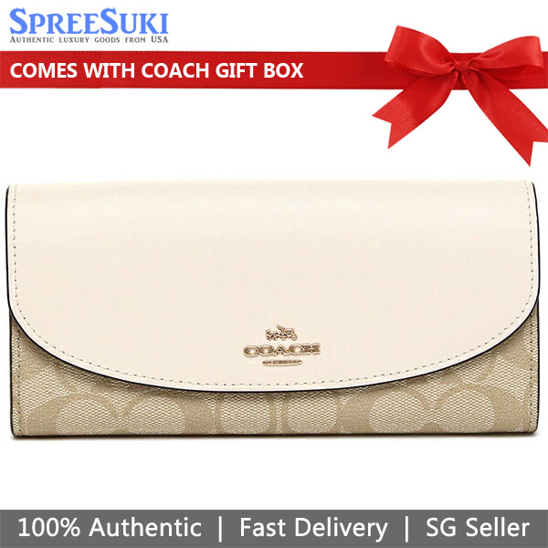 Coach Slim Envelope Wallet In Signature Light Khaki / Chalk Off White # F54022