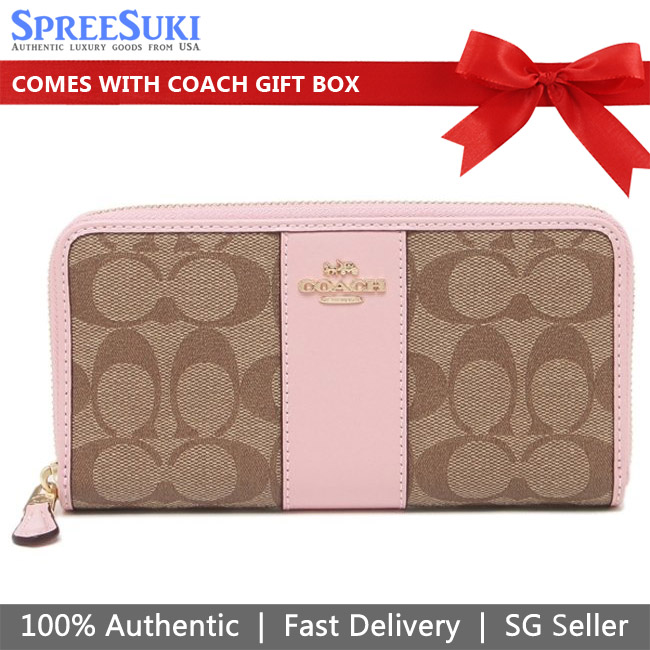 Coach Accordion Zip Wallet In Signature Canvas Khaki Blossom Pink # 54630