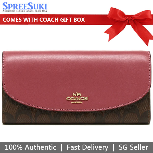 Coach Slim Envelope Wallet In Signature Brown / Rouge Pink # F54022