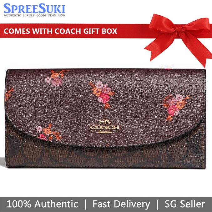 Coach Slim Envelope Wallet In Signature Canvas And Baby Bouquet Print Oxblood Brown # F31573