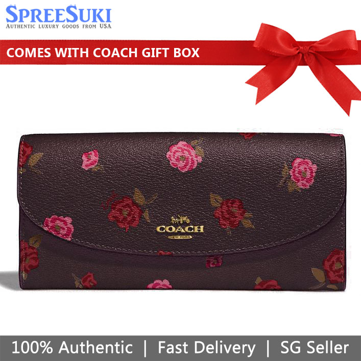 Coach Slim Envelope Wallet With Tossed Peony Print Oxblood Brown # F67529