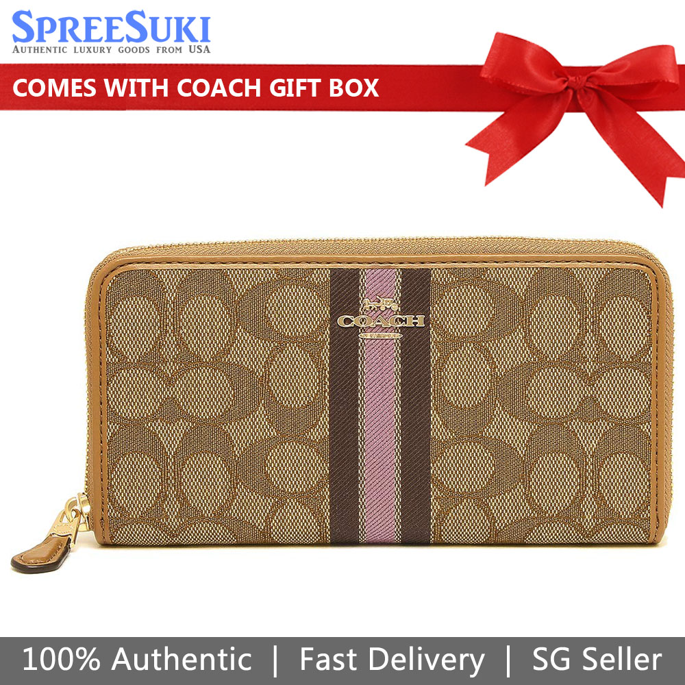 Coach Accordion Zip Wallet In Signature Jacquard With Stripe Khaki Purple # F39139