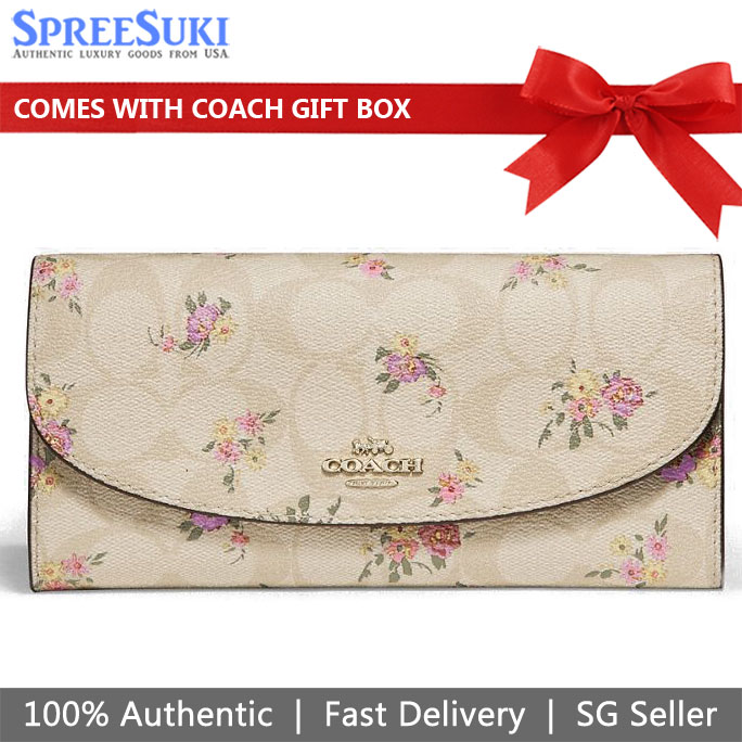 Coach Slim Envelope Wallet In Signature Canvas With Daisy Bundle Print Light Khaki # F31779