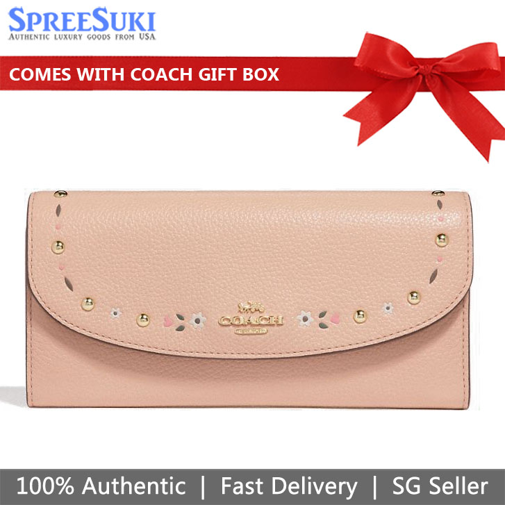 Coach Slim Envelope Wallet With Floral Tooling Nude Beige # F26786