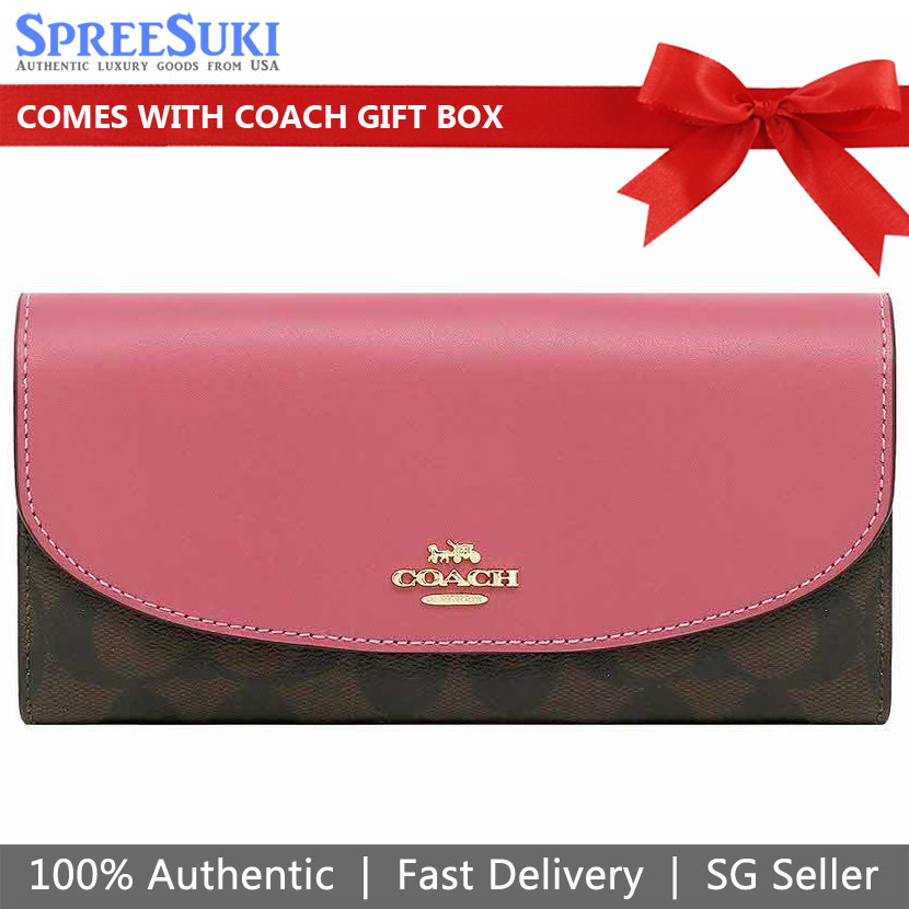 Coach Slim Envelope Wallet In Signature Canvas Brown Strawberry Pink # F54022