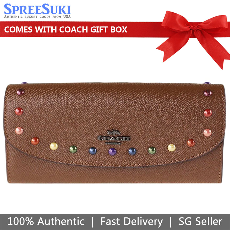 Coach Slim Envelope Wallet With Rainbow Rivets Dark Saddle Brown # F31568