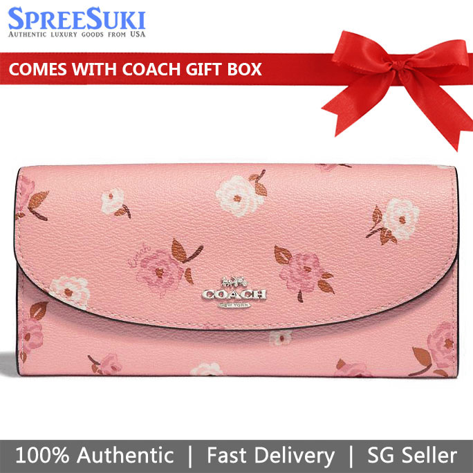Coach Slim Envelope Wallet With Tossed Peony Print Petal Pink # F67529