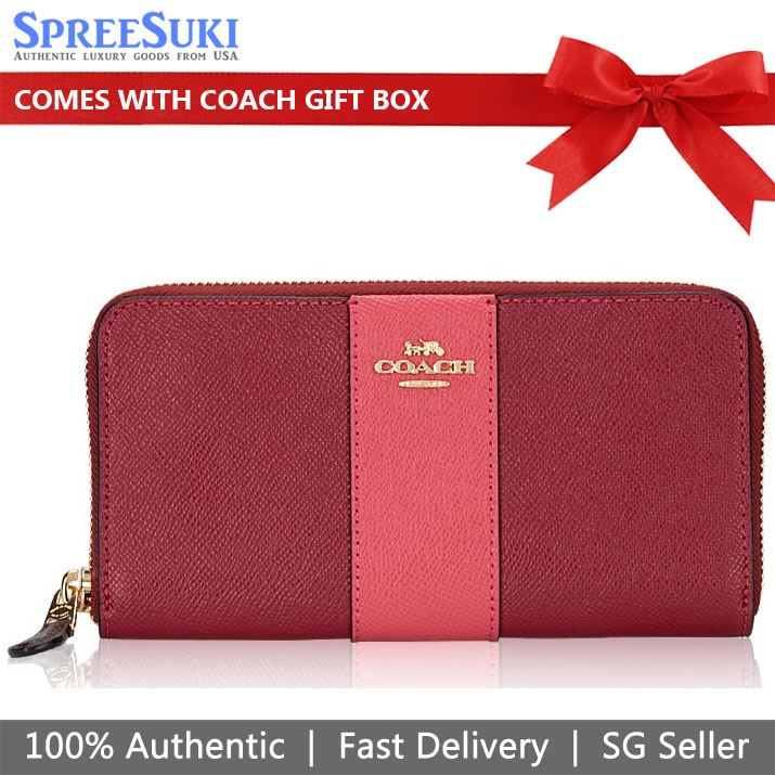 Coach Accordion Zip Wallet In Colorblock With Stripe Deep Scarlet Red Pink # 91574