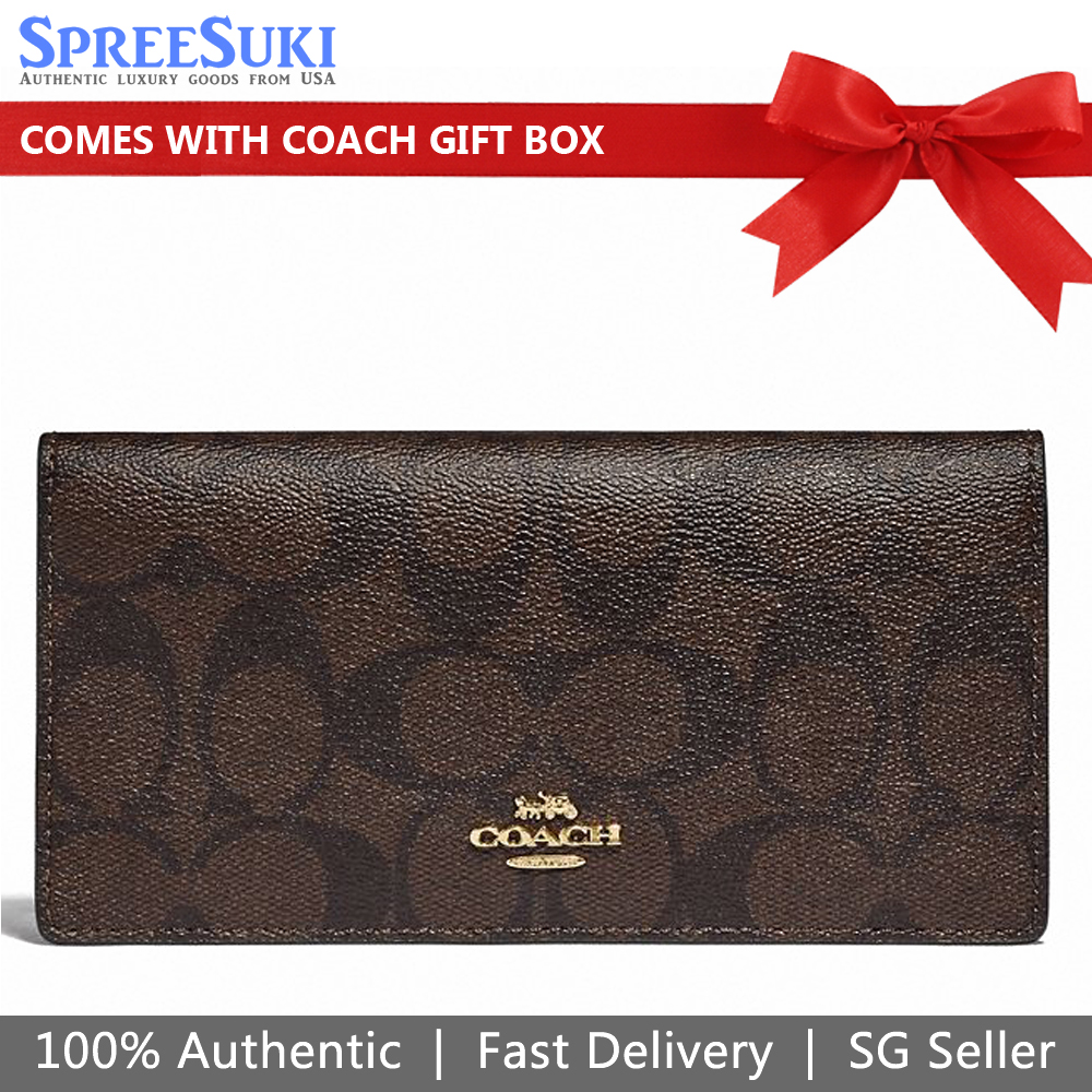 Coach Coach Bifold Wallet Signature Brown Black # F88026