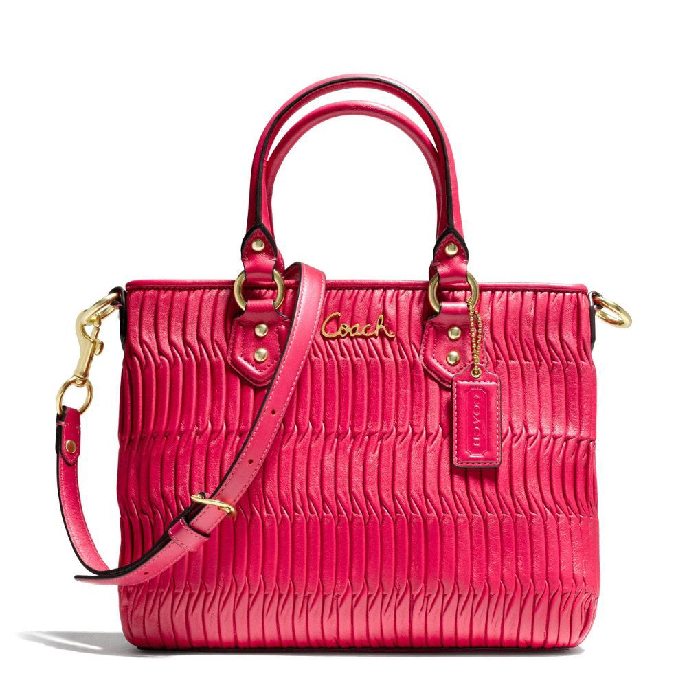 Coach Ashley Gathered Leather Mini Tote Brass/Raspberry # F23972