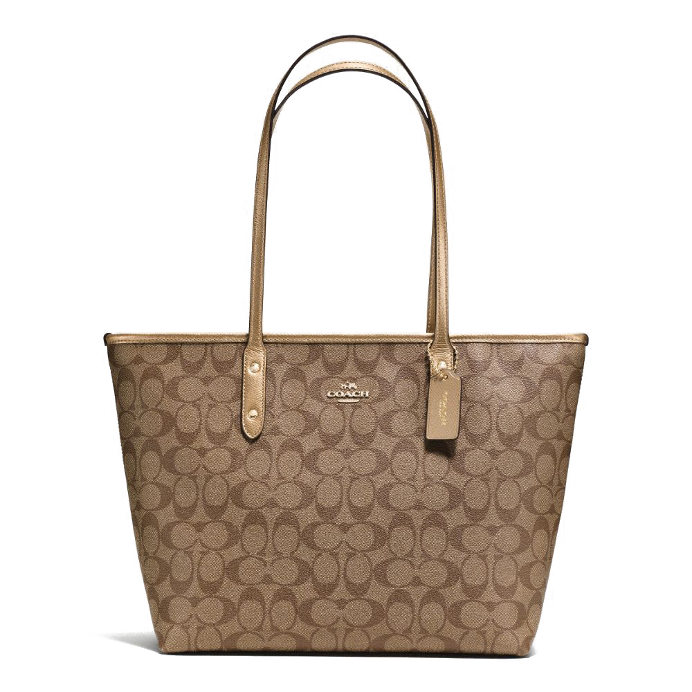 Coach Signature City Zip Tote Khaki / Gold # F36876