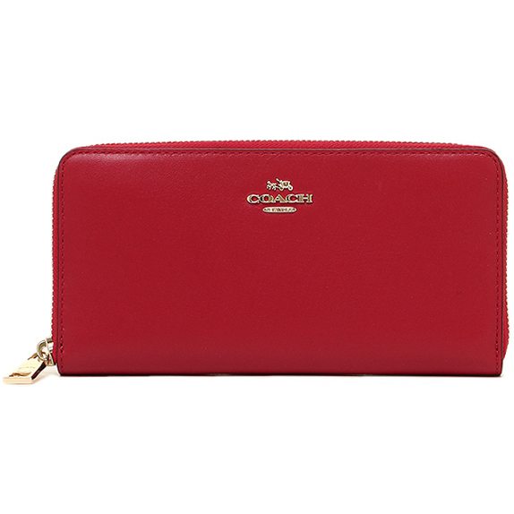Coach Smooth Leather Zip Accordion Wallet Classic Red # F54049