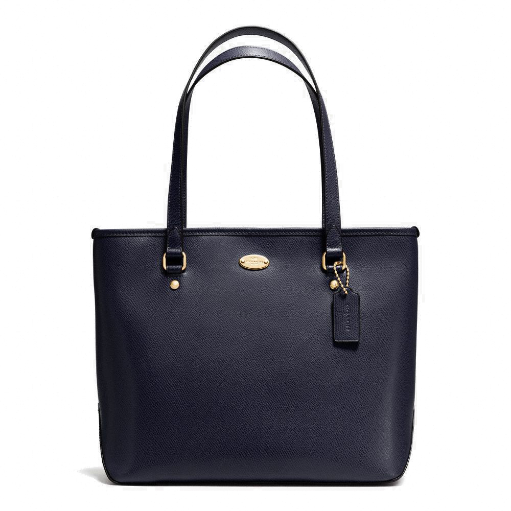 Coach Zip Top Tote In Crossgrain Leather Midnight # F35204