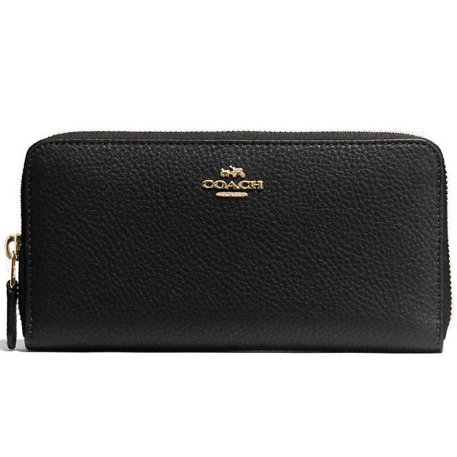Coach Accordion Zip Wallet In Pebble Leather Gold / Black # F57215