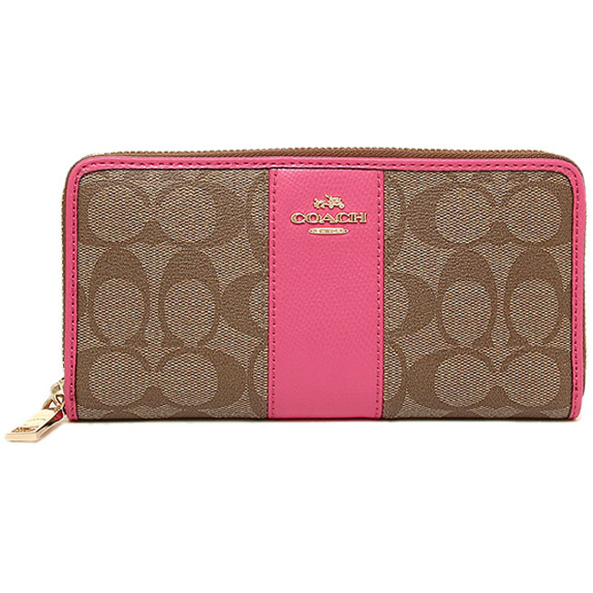 Coach Accordion Zip Wallet In Signature Canvas With Leather Gold / Khaki / Dahlia # F52859