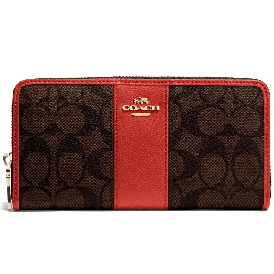 Coach Accordion Zip Wallet In Signature Coated Canvas With Leather Stripe Brown / Carmine # F52859