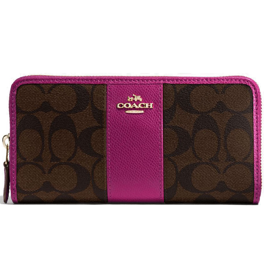 Coach Accordion Zip Wallet In Signature Coated Canvas With Leather Stripe Brown / Fuschia / Gold # F54630