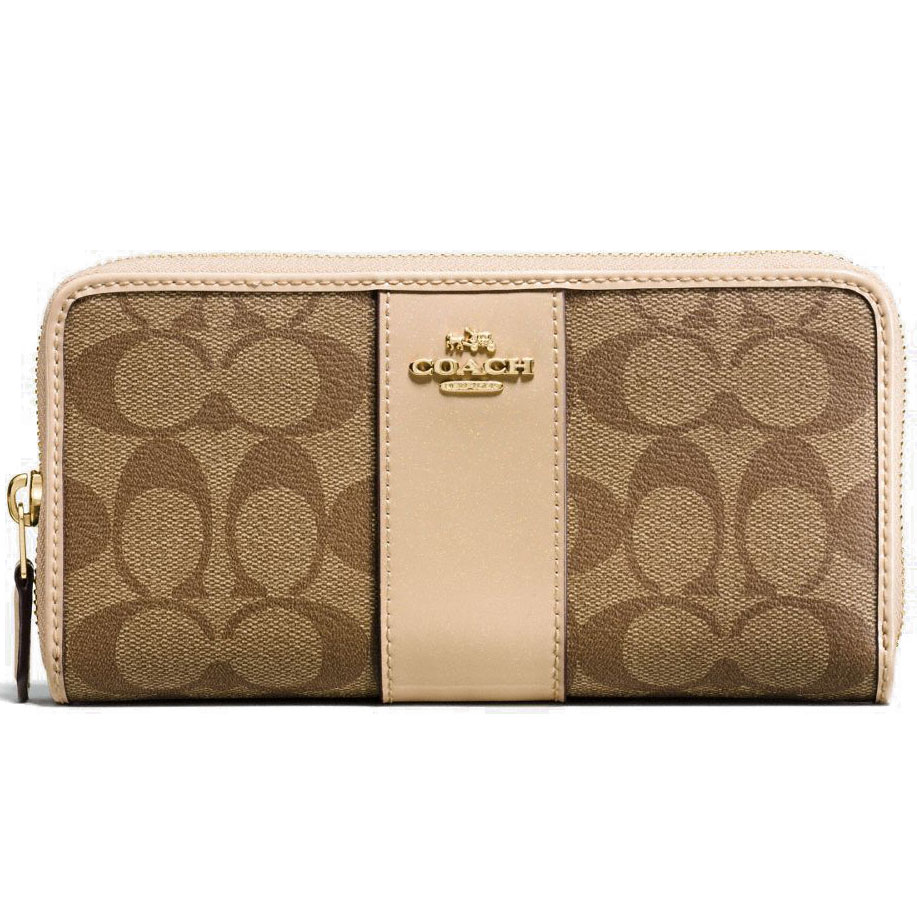 Coach Accordion Zip Wallet In Signature Coated Canvas With Leather Stripe Khaki Platinum Brown / Gol