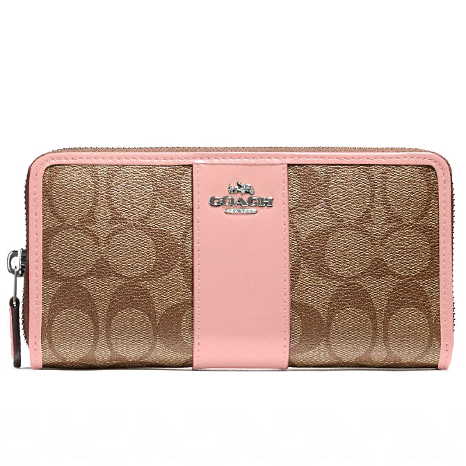 Coach Accordion Zip Wallet In Signature Coated Canvas With Leather Stripe Silver / Khaki Blush 2 # F54630