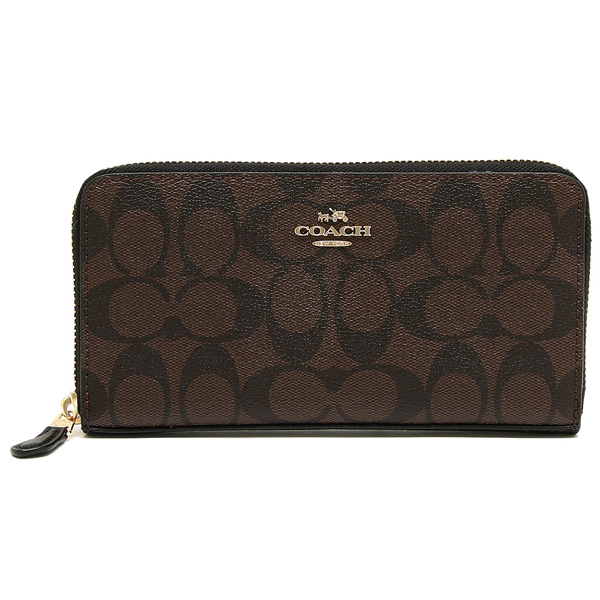Coach Accordion Zip Wallet In Signature Gold / Brown / Black # F54632