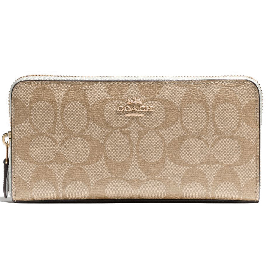 Coach Accordion Zip Wallet In Signature Gold / Light Khaki / Chalk # F54632