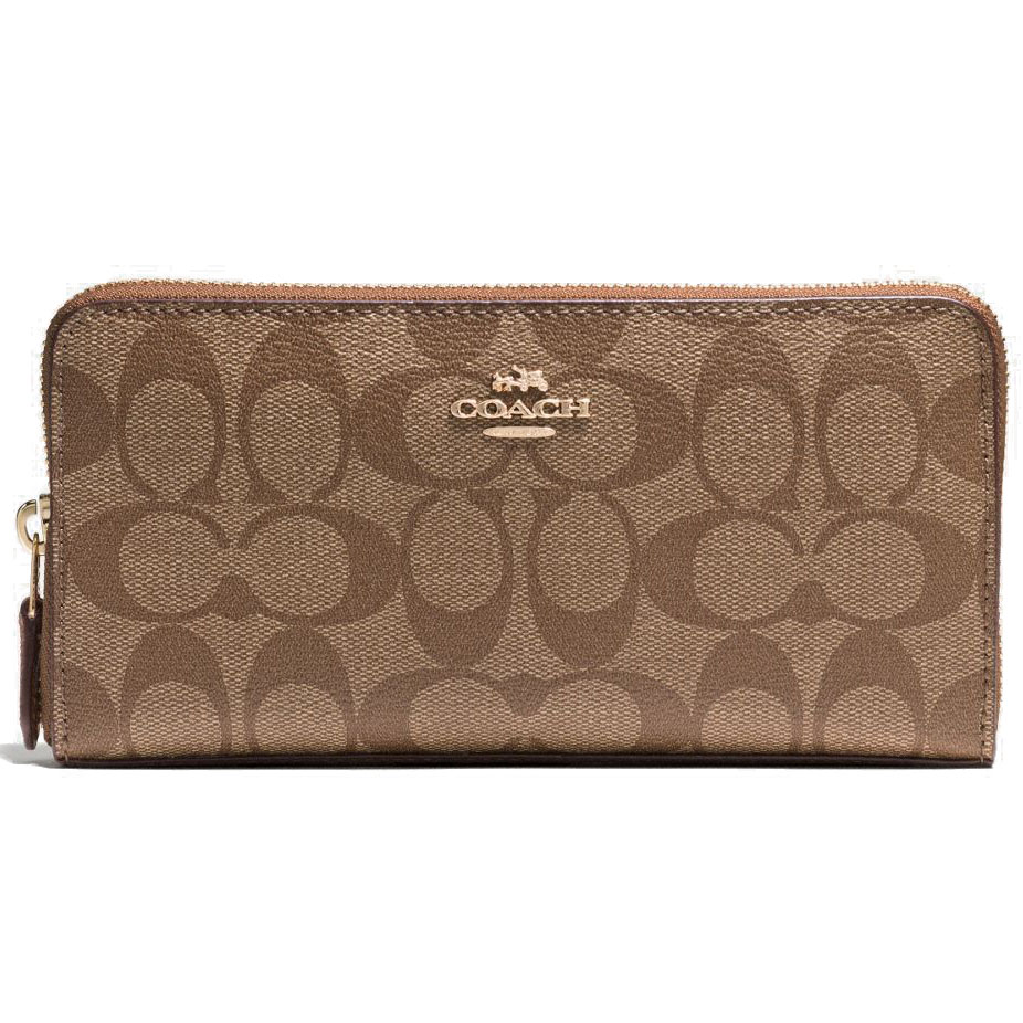 Coach Accordion Zip Wallet In Signature Saddle Brown / Khaki # F54632
