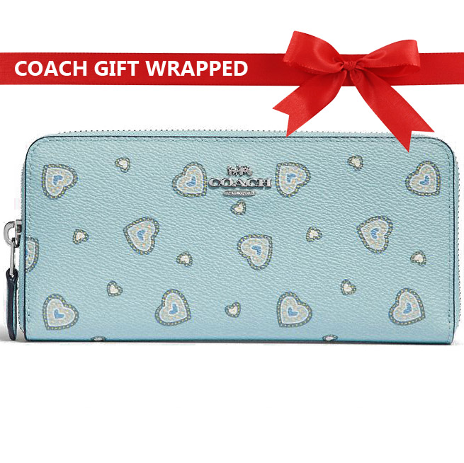 Coach Accordion Zip Wallet With Western Heart Print Light Turquoise Blue # 31588