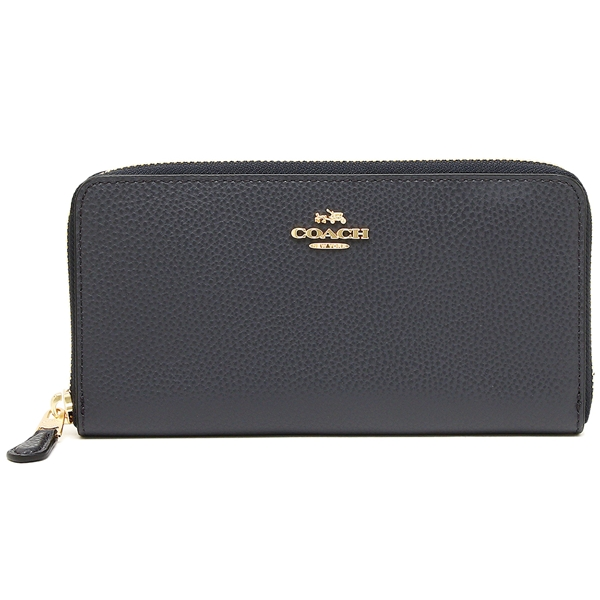 Coach Accordion Zip Wallet Light Gold / Midnight # F16612