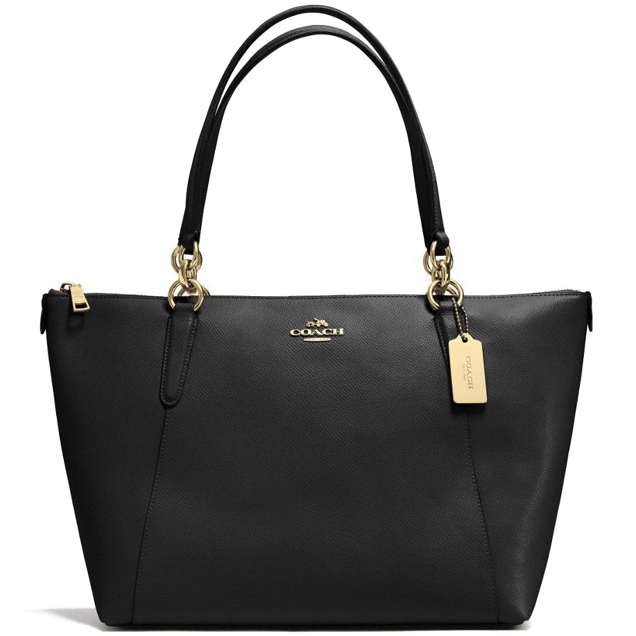 Coach Ava Tote In Crossgrain Leather Gold / Black # F57526