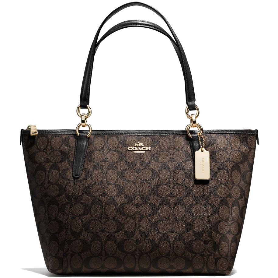 Coach Ava Tote In Signature Gold / Brown / Black # F58318