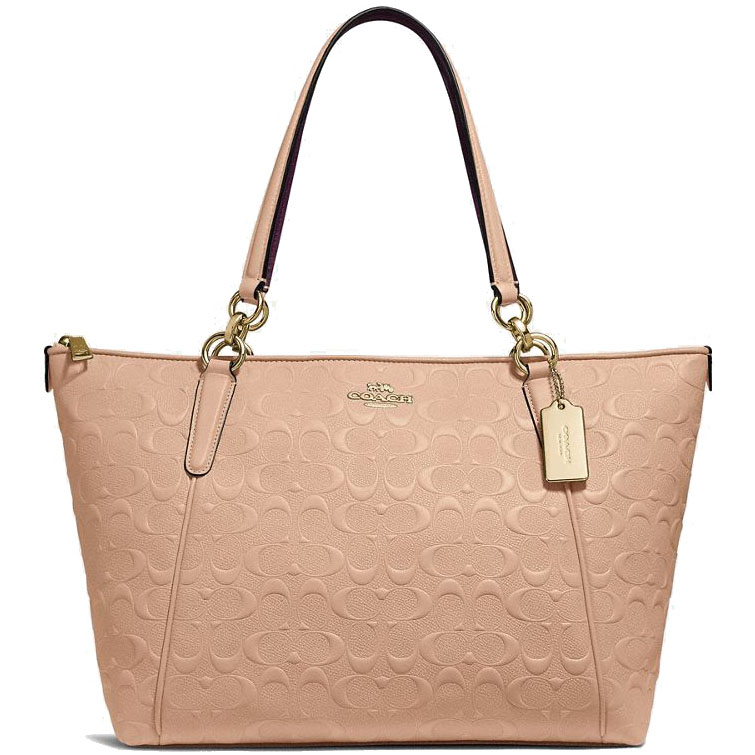 Coach Ava Tote In Signature Leather Nude Pink Beige / Gold # F28558