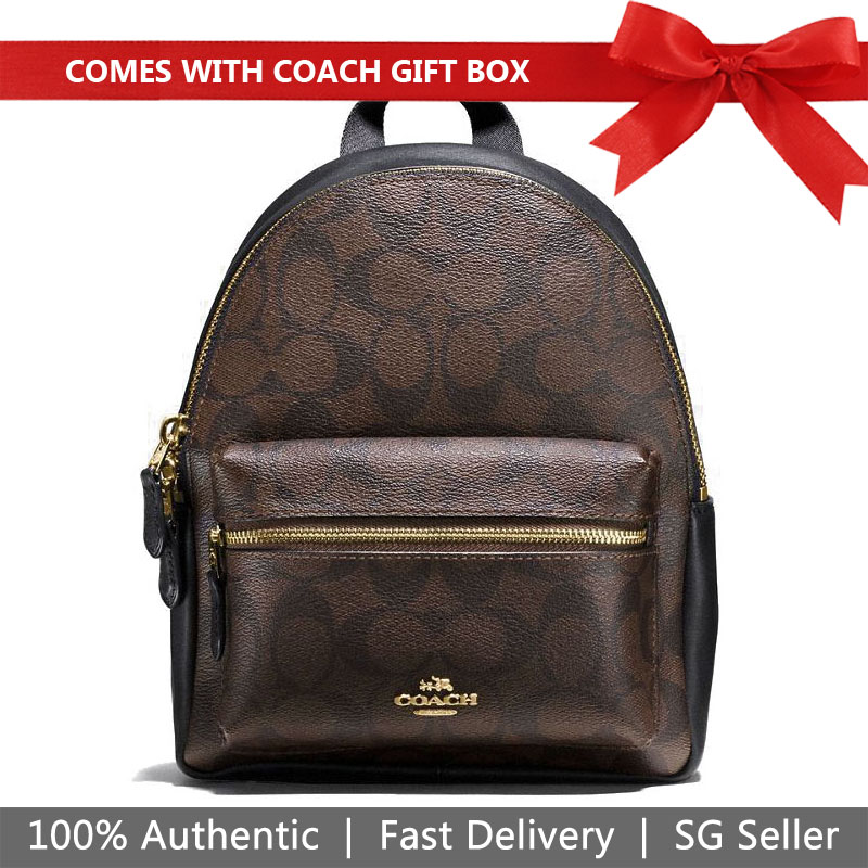 Coach Backpack In Gift Box Mini Charlie Backpack Brown Black # F58315