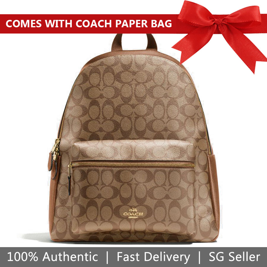 Coach Backpack Large Charlie Backpack In Signature Khaki / Saddle Brown / Gold # F58314