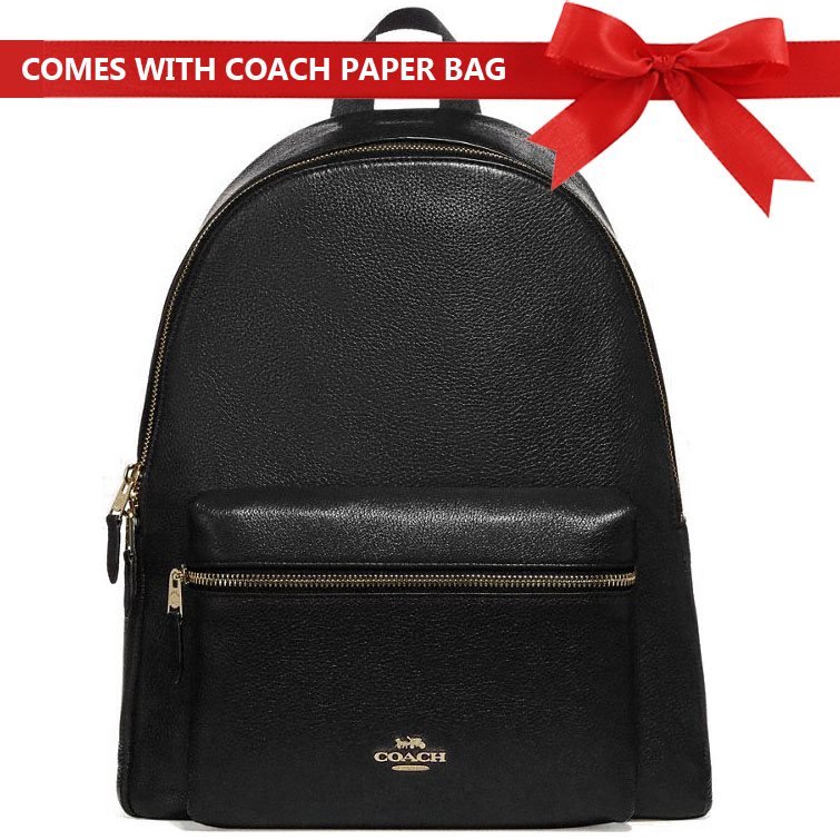 Coach Backpack With Gift Bag Backpack Charlie Leather Backpack Black / Gold # F29004