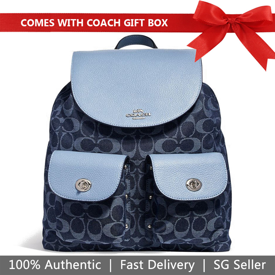 Coach Backpack With Gift Bag Billie Backpack In Signature Denim Denim Blue / Silver # F25892