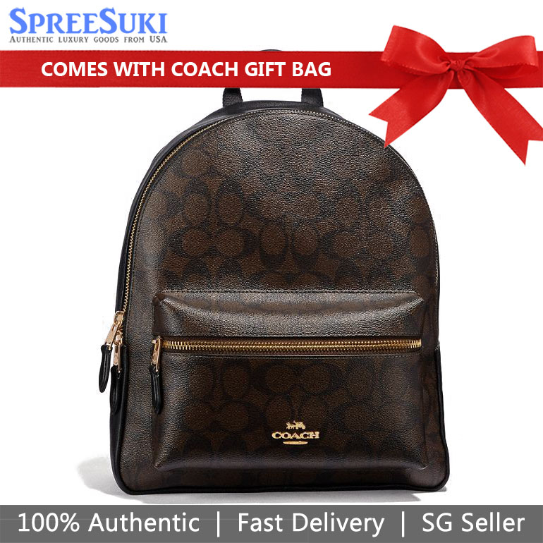 Coach Backpack With Gift Bag Medium Charlie Backpack In Signature Canvas Pre-Order Brown Black # F32200