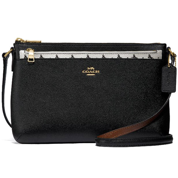 Coach Butterfly Dot East / West Crossbody With Pop-Up Pouch In Crossgrain Leather Black Chalk # F29805