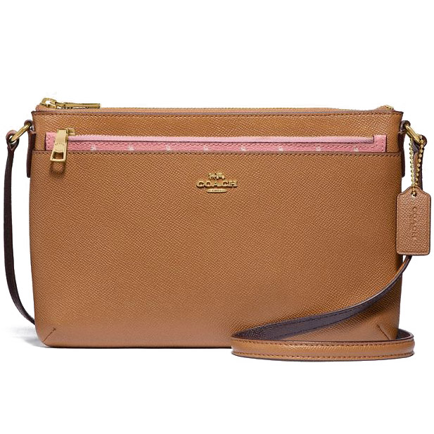 Coach Butterfly Dot East / West Crossbody With Pop-Up Pouch In Crossgrain Leather Blush # F29805