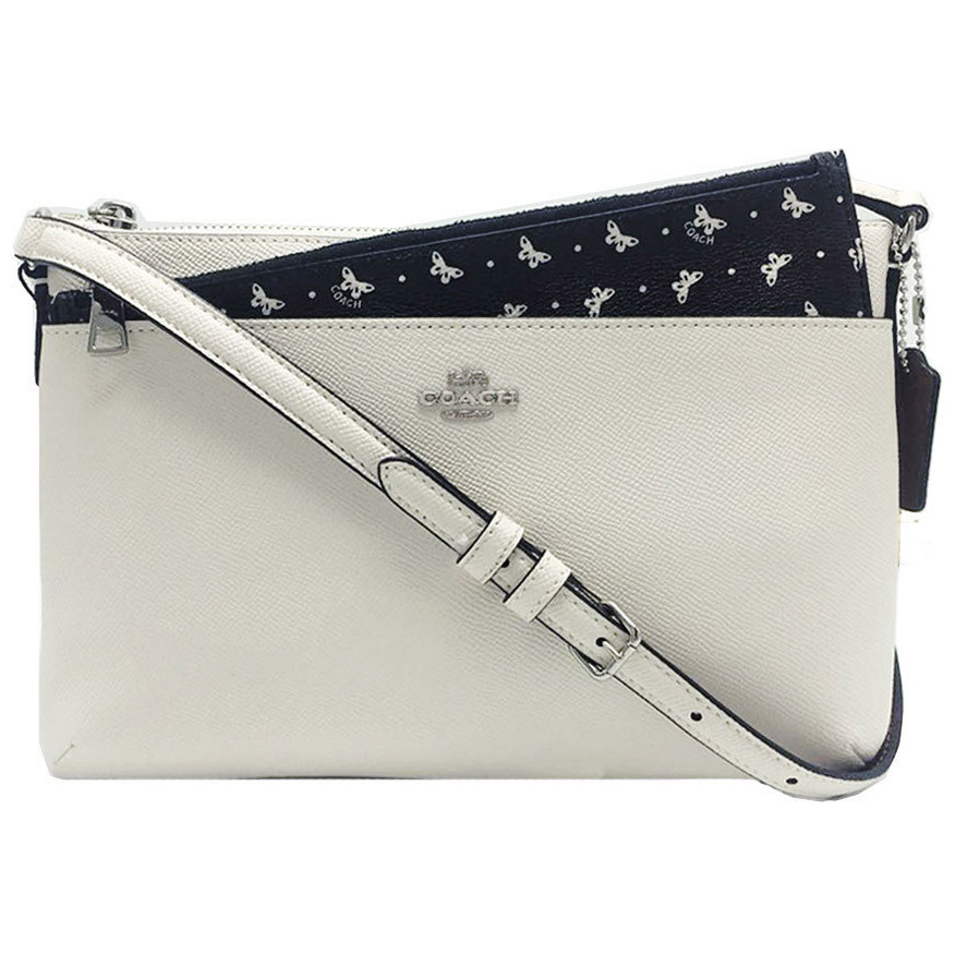 Coach Butterfly Dot East / West Crossbody With Pop-Up Pouch In Crossgrain Leather Chalk Black # F29805