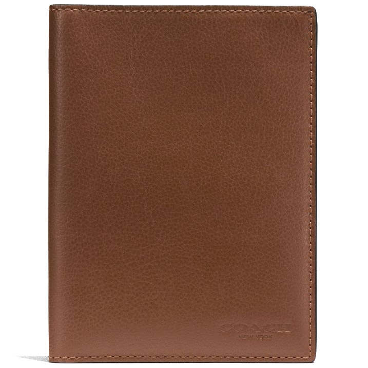 Coach Calf Leather Passport Case Dark Saddle Brown # F93604