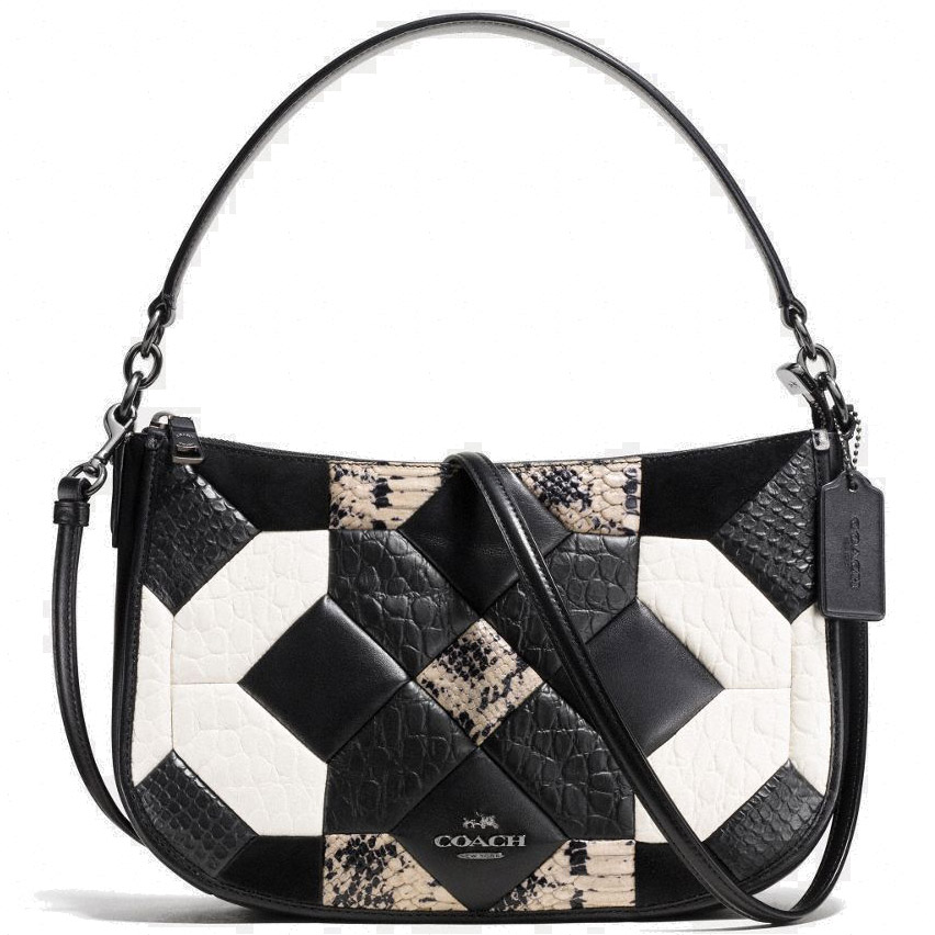 Coach Canyon Quilt Chelsea Crossbody Bag In Exotic Embossed Leather Dark Gunmetal/Black/Chalk # 3829
