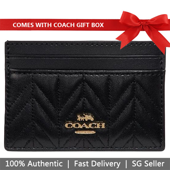 Coach Card Case In Gift Box Card Case With Quilting Black # F73000