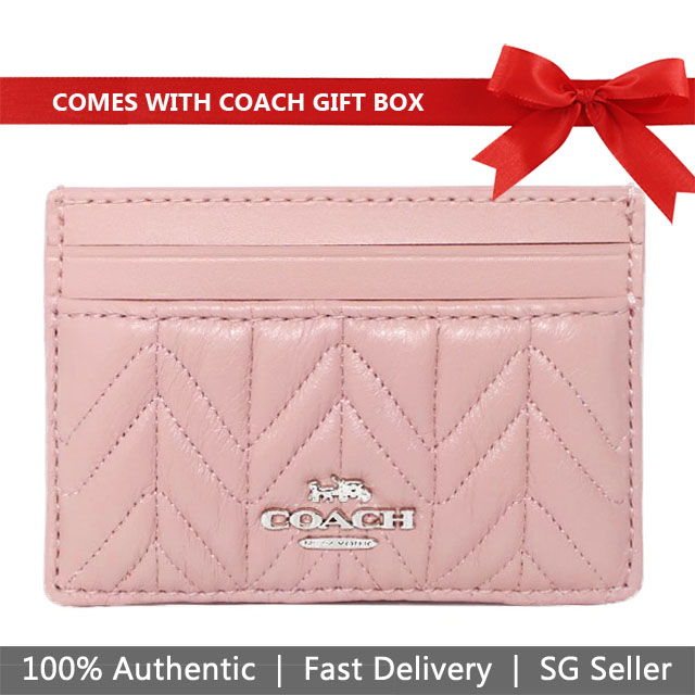 Coach Card Case In Gift Box Card Case With Quilting Carnation Pink / Silver # F73000